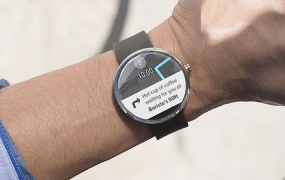 Tecsol's vision of an ad on a Moto 360 smartwatch.