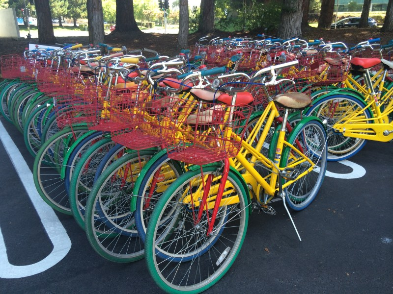 Bikes bear the Google colors. You'll be easily spotted if you steal them.