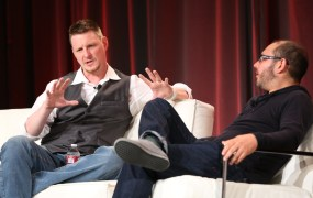Basis Science CEO Jeff Holove and Wearable World founder Redg Snodgrass at MobileBeat 2014
