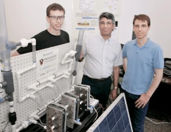 Graduate student James White (Princeton), Professor Andrew Bocarsly (Princeton and Liquid Light) and principal engineer Paul Majsztrik (Liquid Light)