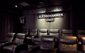 The studio at Sledgehammer where you can play and watch Call of Duty: Advanced Warfare on a big screen.