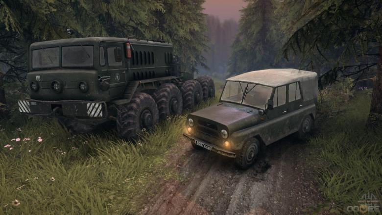 Spintires features detailed vehicles and impressive land deformation as you drive over mud and grass.