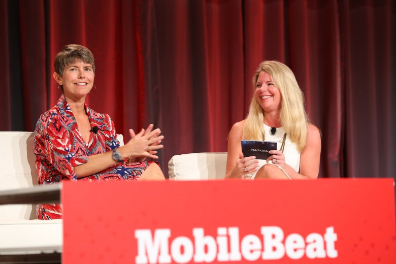 Kira Wampler of Trulia (left) and Heidi Browning of Pandora, onstage at MobileBeat.
