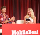Kira Wampler of Trulia (left) and Heidi Browning of Pandora, onstage at MobileBeat.