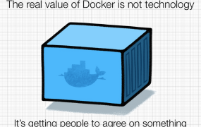 A slide Docker creator Solomon Hykes during a presentation at the 2014 DockerCon conference in June.