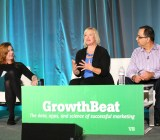 Financial Times' Hannah Kuchler (left), Hootsuite's Jeanette Gibson and Get Satisfaction's Rahul Sachdev speak at VentureBeat's  GrowthBeat 2014