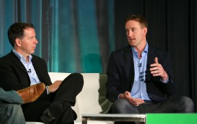 Mick Hollison, left, the chief marketing officer at InsideSales.com, and Russ Hearl, vice president of global sales development at DoubleDutch, speak at VentureBeat's 2014 GrowthBeat conference in San Francisco on Aug. 5.