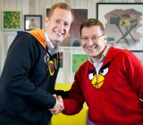 Mikael Hed and new boss Pekka Rantala of Rovio