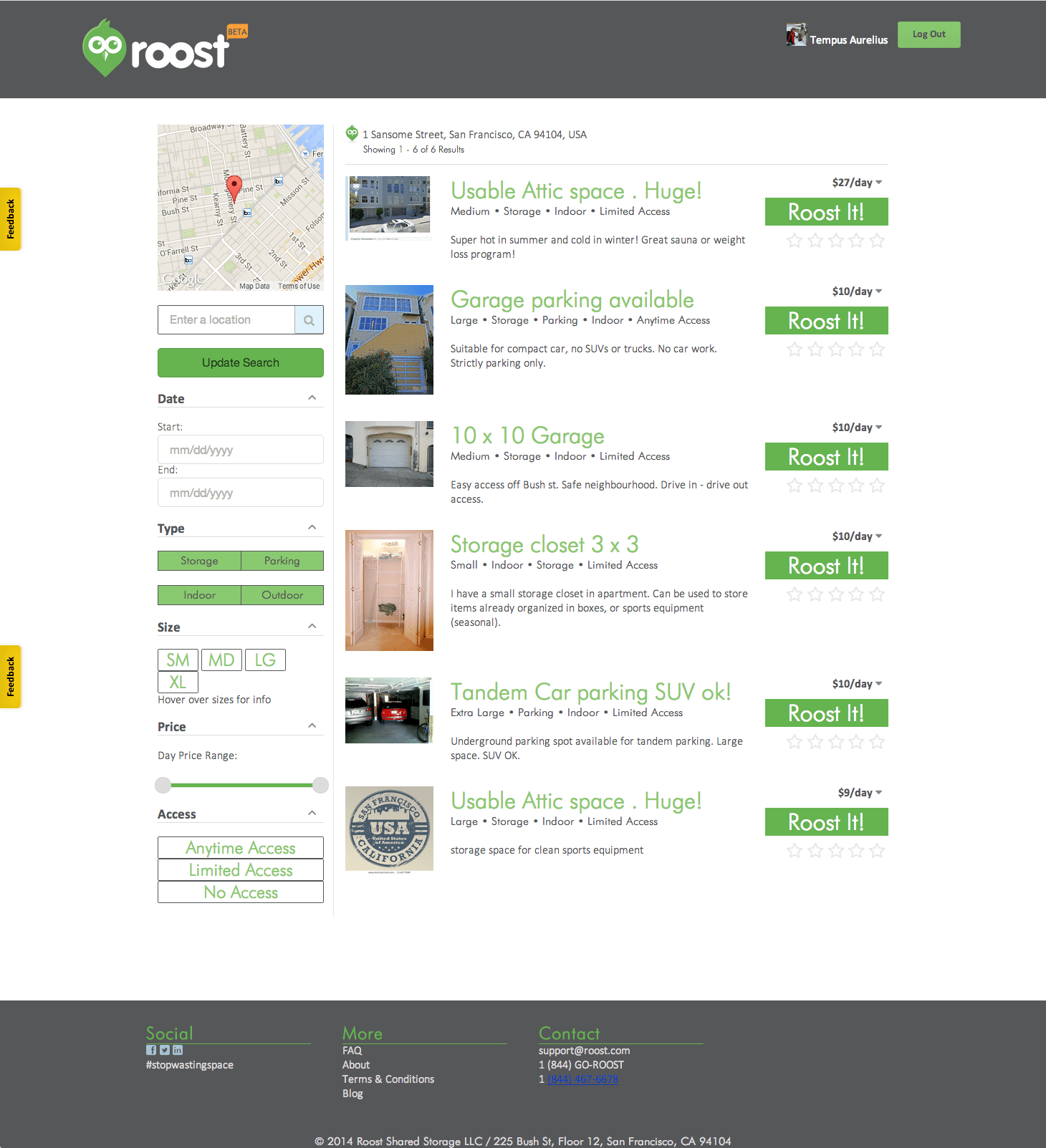 Roost search results