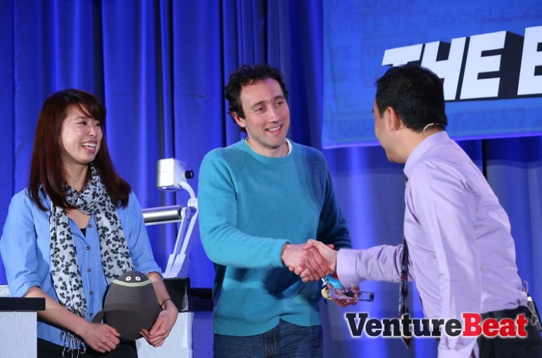 "Zowpow, the Innovation Showdown winners from 2013, received congrats from Dan ""Shoe"" Hsu of GamesBeat."