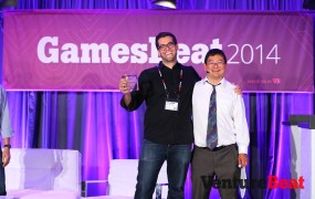 The Tap Lab's chief executive Dave Bisceglia with GamesBeat writer Dean Takahashi.