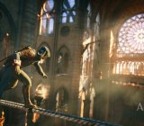 The assassin sneaks above Notre Dame to avoid the gamers arguing about the console war below.