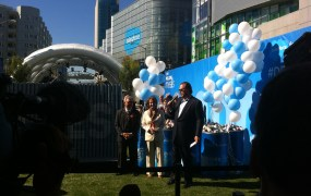 Salesforce.com chief executive Marc Benioff, right, with San Francisco Mayor Ed Lee and U.S. House Minority Leader Nancy Pelosi at Salesforce's 2014 Dreamforce conference in San Francisco on Oct. 13.