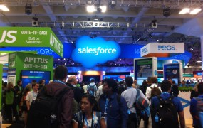 The Dreamforce '14 exhibition floor in San Francisco on Oct. 13.