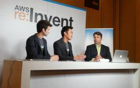 Jordan Potter and Jon Chu of Koality speak with John Furrier at the 2013 Amazon Web Services Re:Invent conference in Las Vegas in November 2013.