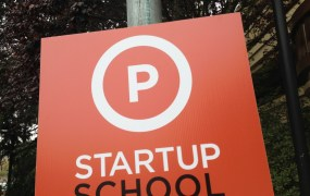 Parking sign at Startup School at the Flint Center, in Cupertino, Calif.