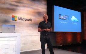 Microsoft chief executive Satya Nadella at the company's cloud press conference in San Francisco on Oct. 20.