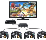 The Wii U with Super Smash Bros. and GameCube Controller Adapter.