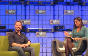 Dropbox CEO Drew Houston (left), talks to CNN reporter Laurie Segall at the Web Summit in Dublin.