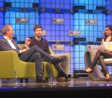 David Karp, center, discusses Tumblr's challenges at the Web Summit in Dublin. At left is American Express chief marketing officer John Hayes; right is CNBC anchor Seema Mody.