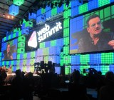 Bono, lead singer of U2, speaks at the Web Summit in Dublin.