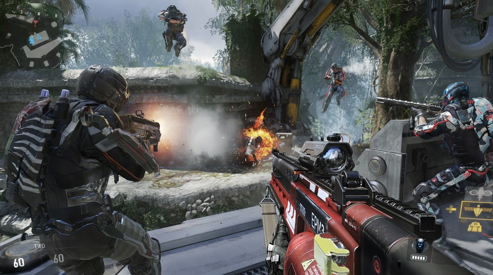 Call of Duty: Advanced Warfare multiplayer combat with exoskeletons.