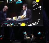 VC Fred Wilson (right) of Union Square Ventures, speaks with Loic LeMeur at LeWeb 2014 in Paris.
