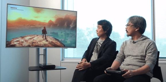 Zelda creator Shigeru Miaymoto (left) and series producer Eiji Aonuma demonstrate the Wii U Zelda game.