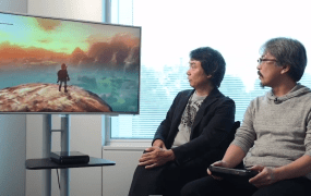 Zelda creator Shigeru Miaymoto (left) and series producer Eiji Aonuma demonstrate the Wii U Zelda game.