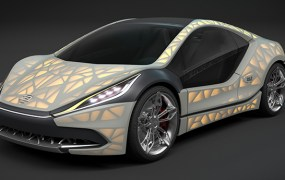 An EDAG Light Cocoon 3D printed concept car.