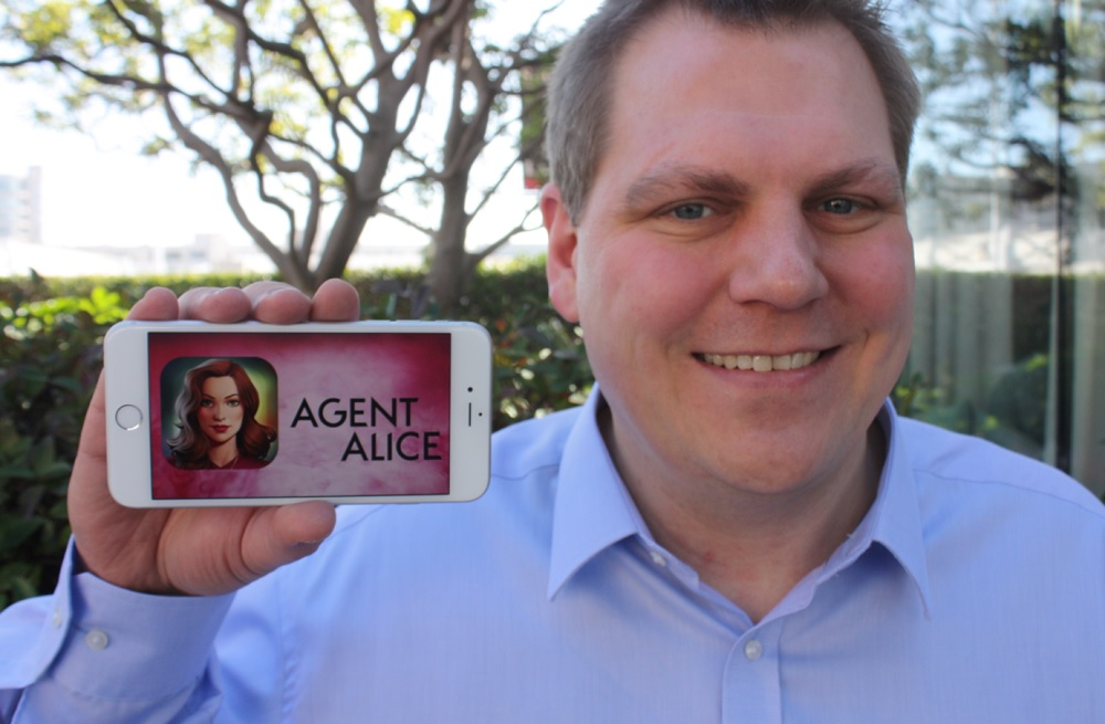 Jens Begemann, CEO of Wooga, shows off Agent Alice.