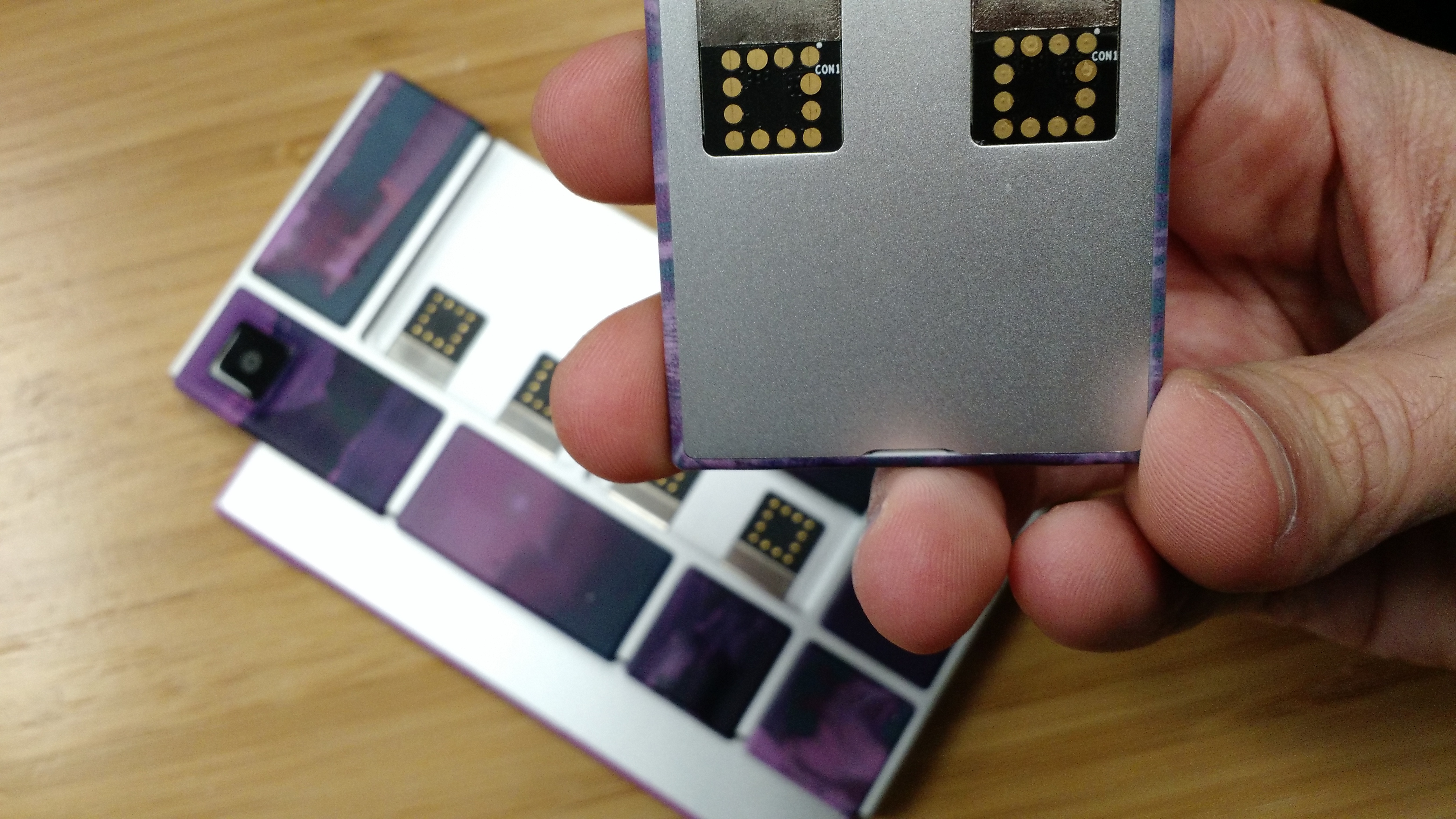 A Google Project Ara smartphone prototype in real life.