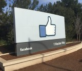 The sign at the entrance to Facebook headquarters in Menlo Park, Calif.