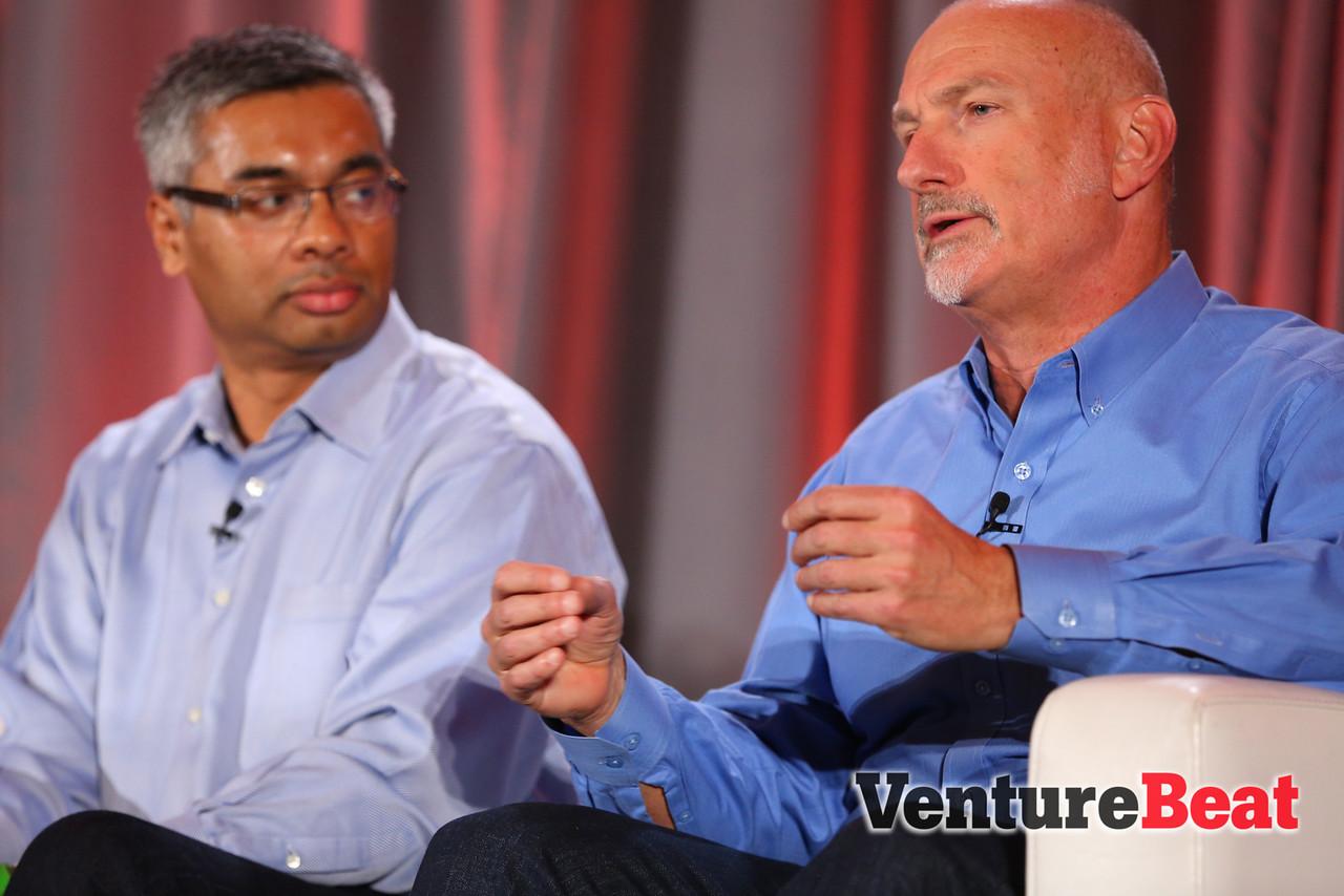 LinkedIn's Jim Baer, right, speaks at VentureBeat's DataBeat conference in December 2013. Baer is leaving LinkedIn this week.