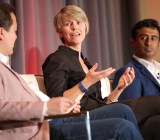 Kira Wampler, center, chief marketing officer of Lyft,  speaks to Jeremiah Owyang of Crowd Companies at VentureBeat's 2015 Mobile Summit in Sausalito, Calif., on Feb. 23.