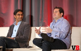 Steven Rosenblatt, right, the chief revenue officer of Foursquare, speaks at VentureBeat's 2015 Mobile Summit in Sausalito, Calif., on Feb. 24.