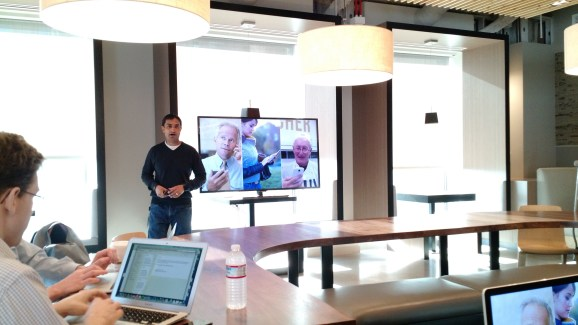 Googler Rajen Sheth talks about Android for Work at a press event at Google's San Francisco office on Feb. 25.