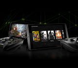 Nvidia's Shield Portable (left) and Shield tablet running cloud-streaming games from Grid.