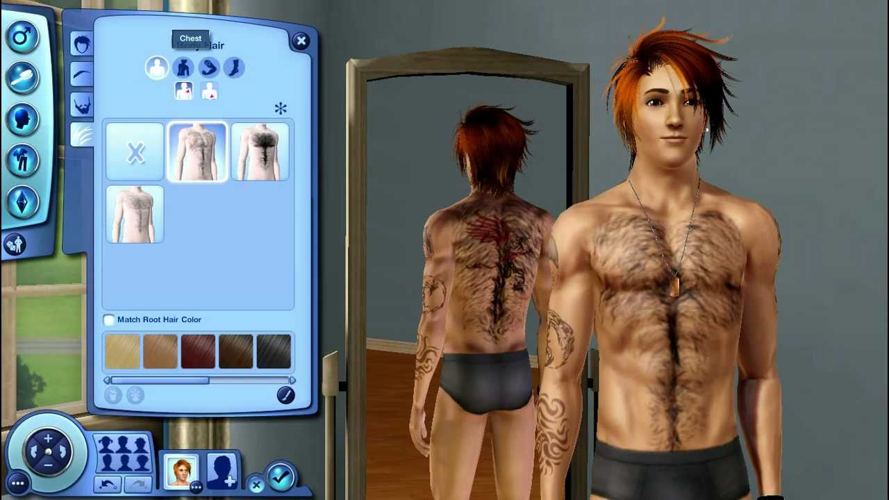 The Sims body hair