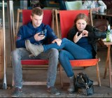 sitting texting