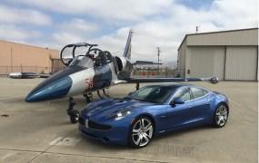 2012 Fisker Karma + Aero L-39 Albatros jet trainer, Hollister Municipal Airport, CA