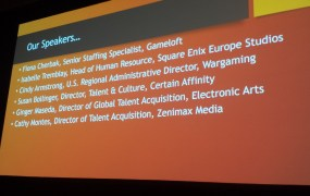 "The speaker list at the GDC ""Hiring and Retaining Women"" panel included professionals from across the industry."