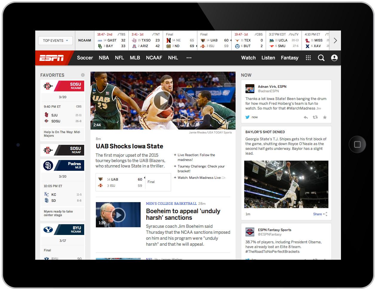 Above: The new ESPN.com, iPad view