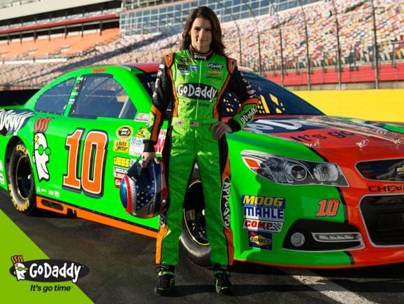 Auto racer Danica Patrick is sponsored by GoDaddy.