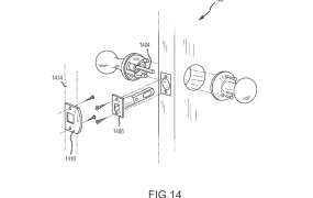 "Google's smart doorknob concept, in the patent application ""Security Scoring in a Smart-Sensored Home."""