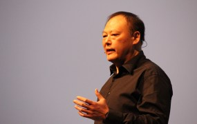 HTC CEO Peter Chou announces the new One M9 phone.