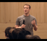 Facebook CEO Mark Zuckerberg speaking at a town hall meeting in Barcelona, Spain on Wednesday.