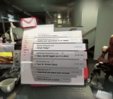 A screen shot from a new Magic Leap video showing an augmented reality Gmail interface.