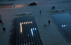 Play a giant multiplayer game of Snake on the fountains at Granary Square, London.