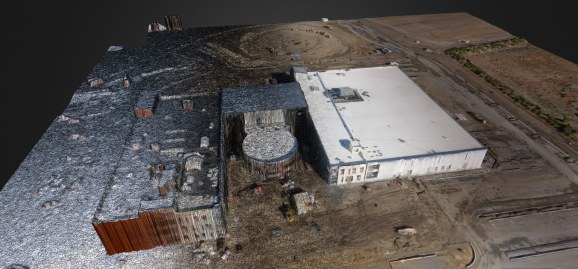 A 3D model of a construction site generated by software from DroneDeploy.